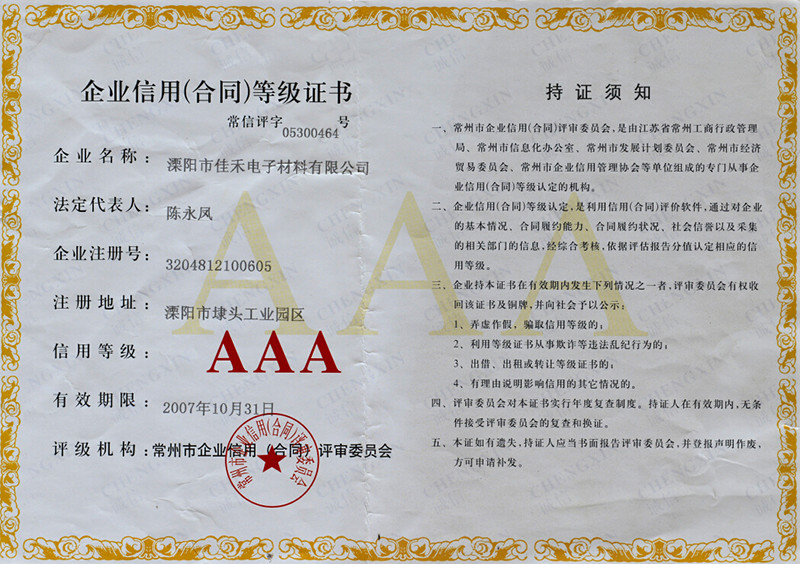 AAA corporate credit certificate